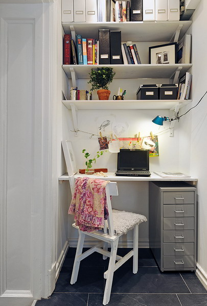 Cute home office ideas: Breathtaking Corner Small Home Office In A Closet With Outstanding Hangging Cabinet Olangside Reading Lamp