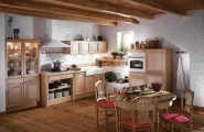 Striking Wooden Furniture In A Lustrous Kitchen : Breathtaking Laminated Wooden Floor In French Kitchen Match The Red Chair