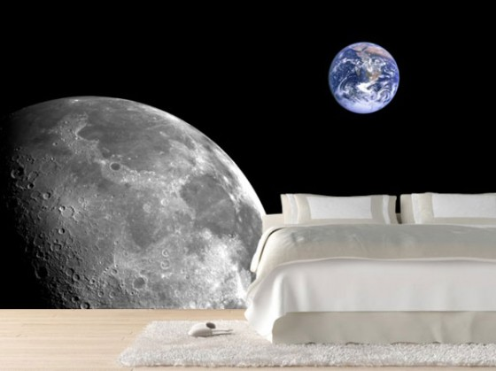 Wall Decal For Interior Decoration Ideas: Breathtaking Modern Bedroom Decoration With Sleek Bed On White Fur Rug On Wooden Flooring And Earth Moon Space Wall Decal Ideas