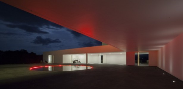 Great Houses with Remarkable Landscape and Contour: Breathtaking Round Pool Red Lights White Ceiling Design Ideas ~ stevenwardhair.com Design & Decorating Inspiration