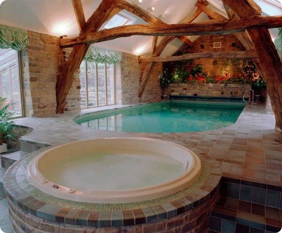 Various Indoor Swimming Pool Design Ideas: Breathtaking Traditional Mix Modern Indoor Swimming Pool Design With Jacuzzi Design Ideas And Breathtaking Exposed Wooden Beam
