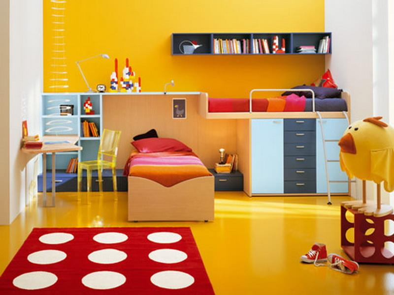 Cozy And Fun Tween Girl Bedroom Interior Ideas: Breathtaking Yellow Teen Girls Bedroom Designs With Bunk Bed Upon Closet With Bookshelves Table And Chair With Red White Circle Rug