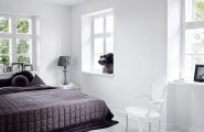 Bright White Themed Homewares Designs : Bright All White Home Interior With Simplicity And Minimalism Bedroom With Windows And White Wall Using White Marble