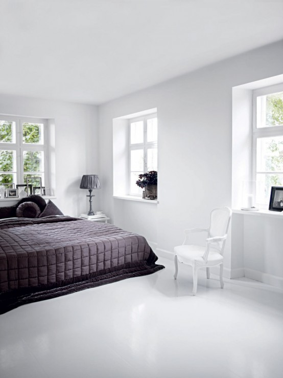 Bright White Themed Homewares Designs: Bright All White Home Interior With Simplicity And Minimalism Bedroom With Windows And White Wall Using White Marble
