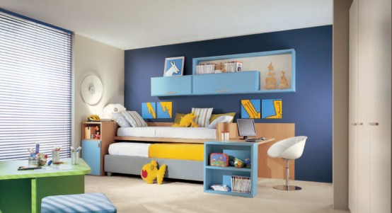 Calm and Ergonomic Bedroom Ideas for Kids: Bright And Airy Bedroom Ideas For Two Children With Colorful Bright And Ergonomic Furniture