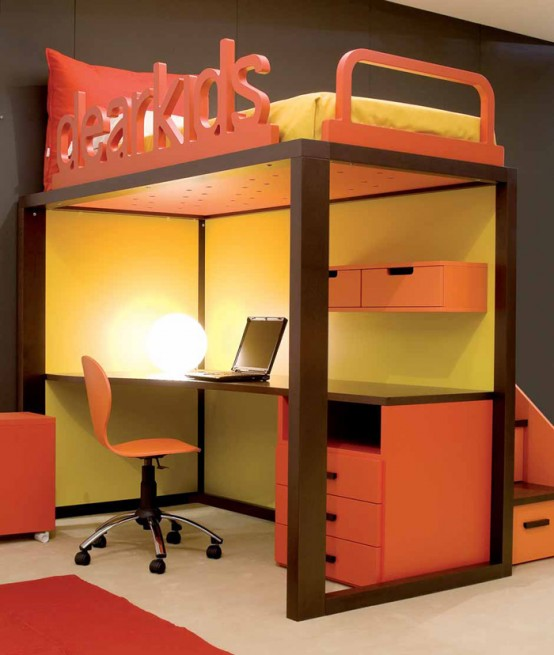 Calm and Ergonomic Bedroom Ideas for Kids : Bright And Happy And Ergonomic Bedroom Ideas For Two Children With Custom Study Dest Underneath Bed