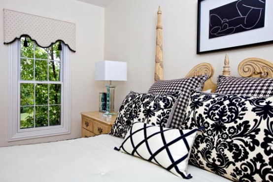 Traditional Fascinating House Interiors: Bright Awsome Traditional Black And White Bedroom With Excellent Contrasting Bed Sheet And Pillow Curtain With Nice View And Picture Wall ~ stevenwardhair.com Bed Ideas Inspiration