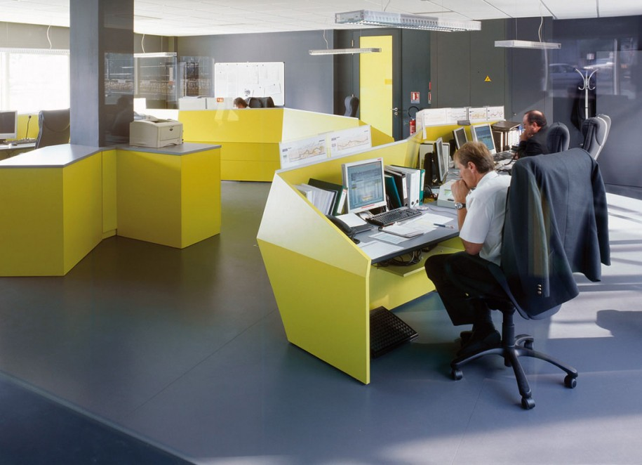 Beautiful Office Interior Designs in Modern Concept: Bright Beautiful Office Interior Designs With Yellow Desk Grey Floor Black Wall Wide Windows