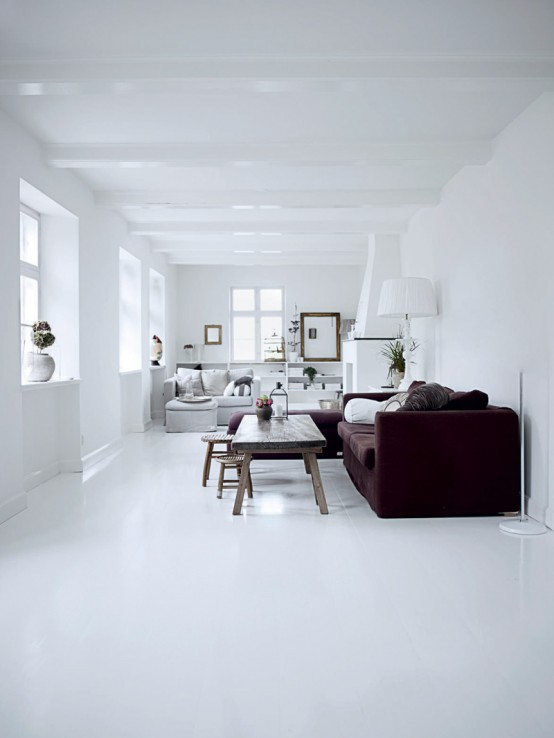 Bright White Themed Homewares Designs: Bright Clean And Contemporary Rustic Chic Style And All White Home Interior Design With Black Sofa And Table Using Marble Floor And Astonishing Furniture