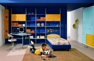 Colorful Ergonomic Solution Girls Bedrooms Design : Bright Colored Ergonomic Solution Girls Bedrooms Design With Storage And Comfortable Working Place Decortion With Custom High Bookshelves Built In Wardrobe Blue Ceiling