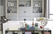 Materials And Designs Selection For Tiny Room To Utilize The Space : Bright Materials And Designs Selection For Tiny Room To Utilize The Space With Sofas Mounted Cabinet Wall Short Bookcases With Cabinets Underneath And Parquet