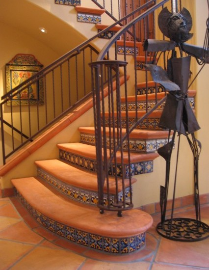 Floor Tiles Stairs Design Ideas : Bright Mediterranean Staircase Orange Floor Tiles Stairs With Simple Railing Steel
