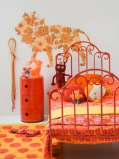 Modern Ideas For Pink Girls Bedrooms : Bright Orange Girl Bedroom Wih Single Bed And Funny Rug Model Nd Custom Side Bed Table