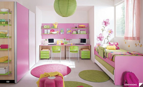 Amazing Trendy Bold Color Comfy Kids Room: Bright Pretty Gorgeous Pink Green Theme Kids Bedroom With Pull Out Twin Beds And Double Study Desks With Flowery Wall Stickers As Accent