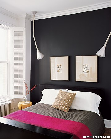 Traditional Fascinating House Interiors : Bright Simple Traditional Black And White Bedroom With Black Painted Wall And Colorful Sheet Bed
