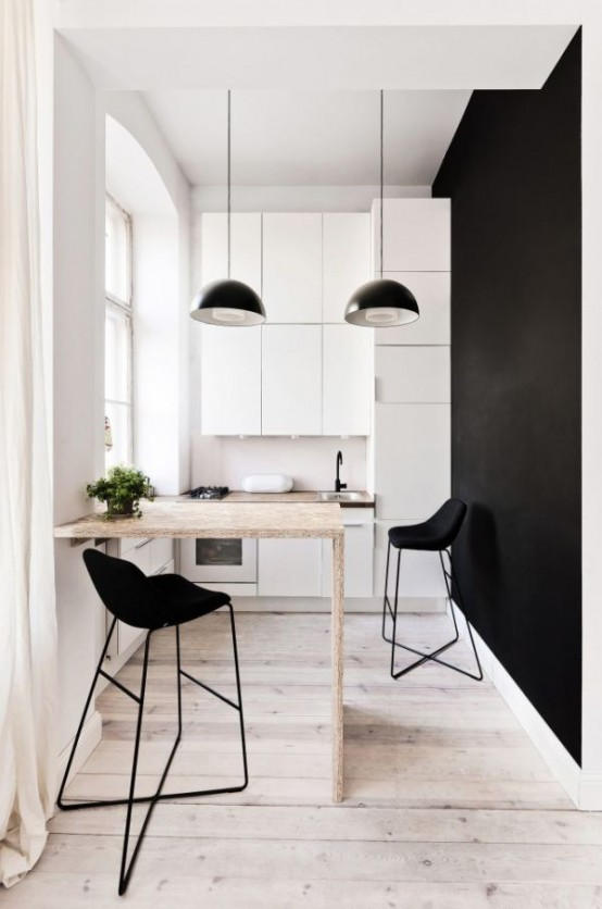 Smart And Creative Design Of Small Apartment: Bright Spot Smart And Creative Dinning Table Decaration With Black Simple Pendant With Small Pantry Along With Washbasin And Built In Plate Cabinet And Black Painted Wall ~ stevenwardhair.com Apartments Inspiration