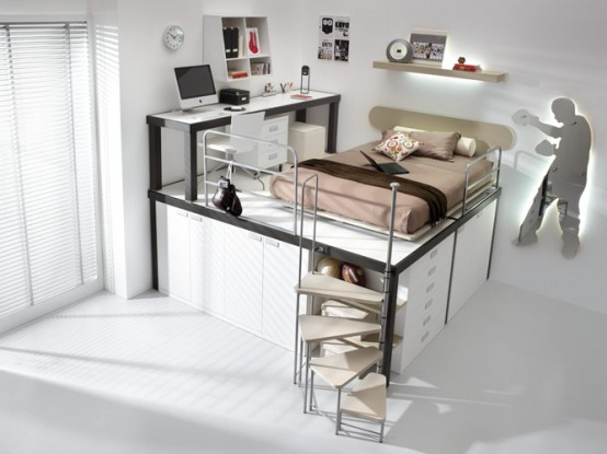 Colorful Bright Teenage Loft Bedrooms: Bright Sunny Relaxing Brown Loft Teenage Beedroom With White Themed With Small Space Corner Cabinet Office Complete With Study Desk And Ceramic Floor And Bay Window