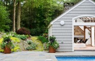 Wonderful Pool House Designs For Your Own House : Brilliant Pool House Designs Ideas Cool Green Natural Atmosphere Green Plant Decoration
