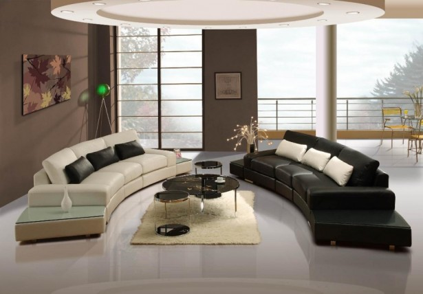Brown Wall Painted Living Interior Design With Breathtaking Marble Floor Design And Black And White Sofa Stunning Bay Windows