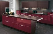 Futuristic Italian Kitchen With an Additional Modern Touch : Brown Wooden Cabinets Burgundy Under Cabinets Wooden Burgundy Kitchen Island