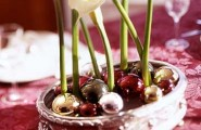 Gorgeous Holiday Table Arrangements : Calla Lilies And Small Ball Ornaments On Oval Silver Container Awesome Holiday Table Arrangements Floral Shine