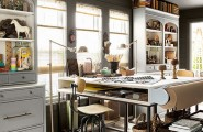 Old Fashion Captivating Home Office Design Ideas : Calm Awesome Stylish And Dramatic Masculine Minimalist Home Offices Sunny Standing Lamp Work Station Green Ceiling With Inspiring Furniture And Cabinet