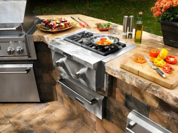 Awesome Outdoor Kitchen Designs That Will Make Your Patio Stylish And Inviting: Calm Casual Outdoor Stylish And Inviting Kitchen Designs Ideas With Grill Is Specially Designed With Cast Iron And Porcelain Coated Features To Prevent Flare Ups ~ stevenwardhair.com Cabinets Inspiration