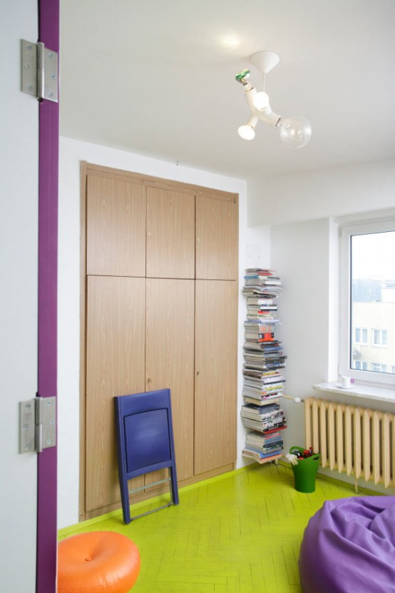 How To Make Your Small Apartment Interior Cheerful And Fun To Live With : Calm Cheerful Apartment Interior Design With Built In Cabiets Mounted To The Wall Green Carpet Aand Nice Pendant