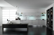 Bright Sleek Bold Black Kitchen : Calm French Country Kitchen With Black Kitchen Island And White Kitchen Table With Buit In Plate Cabinet And Black Marble