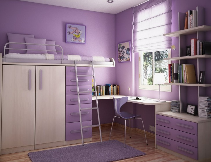 Inspiring Teenage Rooms Ideas for Their Little Plessure: Calm Purple Color Themed Cool Teenage Rooms Modern Minimalist Style Bunk Bed Storage Underneath Simple Study Desk Book Cabinets