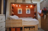 Teenage Cozy Modern Compact Bedroom : Calm Relaxing BoysBedroom Ocean Orange And White Themed With Small Space Wood Cabinet Office And Orange Ceramic Floor