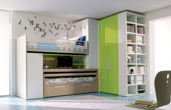 Room Design For Kids: Calm Relaxing Teenage Girl Bedroom Ocean Green Themed With Cabinet Office And Gey Rug With Blue Ceramic Floor And Bay Window ~ stevenwardhair.com Bedroom Design Inspiration