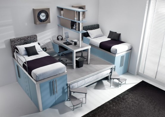 Colorful Bright Teenage Loft Bedrooms: Calm Relaxing Teenage Loft Bedroom Design With Cabinet Office And Black Rug With Ceramic Floor And Bay Window ~ stevenwardhair.com Bed Ideas Inspiration