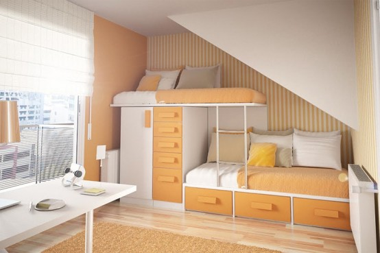 Teenage Bedroom Layouts With Interesting Ideas: Calm Sunny Bright Orange And White Theme Bedroom With Comfortable Twin Sleeping Bed And A Stylish Work Station By The Window