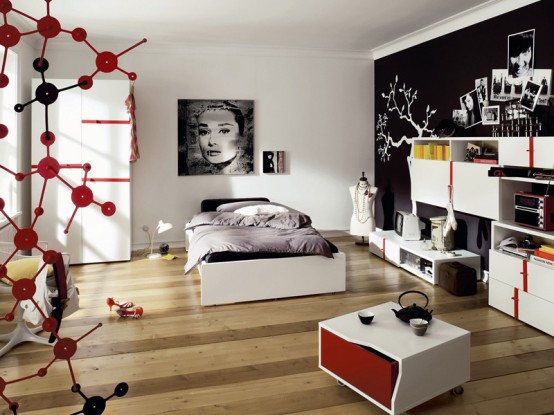 Modern Furniture for Cool Youth Bedroom Design : Calm Whites And Glamorous Modern Furniture For Cool Youth Bedroom Design With Contemporary Decor