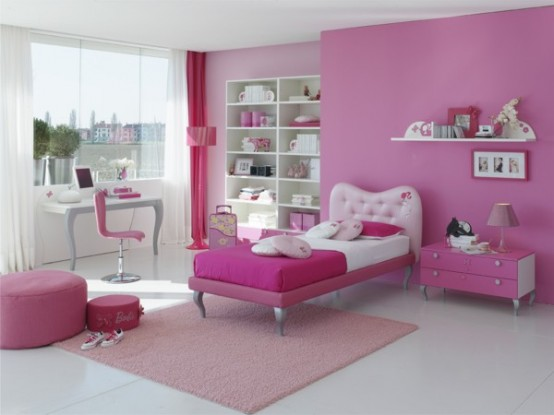 Modern Ideas For Pink Girls Bedrooms : Calming Pink Themed Girls Bedroom With Single Bed Work Station Drawers Big Pink Wallpaper Young Room With Marble Floor