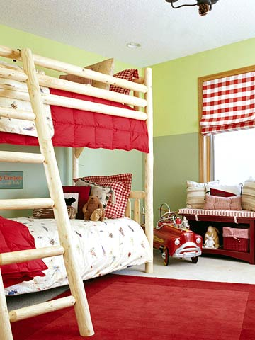Cool Ways To Decorate A Room : Camping Inspired Shared Boys Bedroom