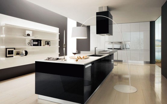 Black & white kitchens : Captaving Black And White Kitchen Design With Marbel Kitchen Isle Alongside Charming Chandelier Wite Kichen Cabinet With Washstand In The Midle