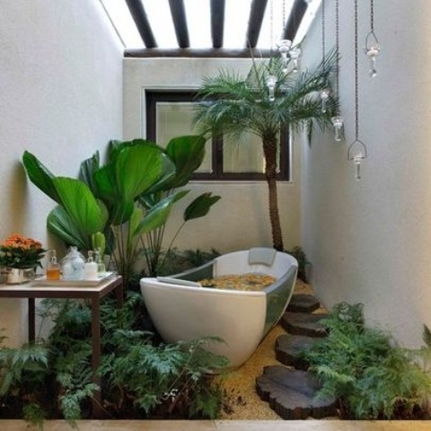 Cotemporarry Tropical Bathroom Decor Ideas That Back To Nature :  Captivating Amazing Bathroom Design Ideas Sunroof