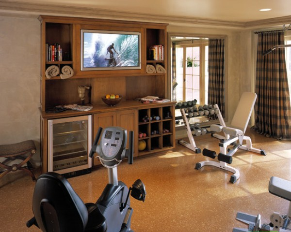 Atonishing In House Gym Space Design For Urban Living : Captivating Free Space Home Gym Designs With Portable Fitness Equipment Training Equipments Elliptical Treadmill