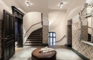 A Fashion Design Apartments Model : Captivating Glamour Modern Apartment Of A Fashion Designer With Wooden Staircase And Leather Round Table With White Marmer Floor