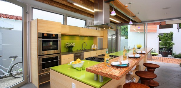CaesarStone Best Value Countertops Design : Captivating Modern Kitchen Design With Green Color Cabinet Countertop And Backsplash Ideas With Wooden Barstool And Beams Ceiling With Large Glass Sliding Door And Pendant Lights And Tile Floors