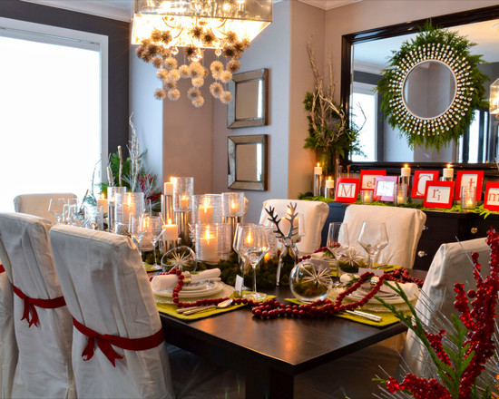 Inspirative White Feather Wreaths: Captivating Traditional Dining Room White Feather Wreaths Black Dining Furniture With White Slip Covers Christmas Decor Feathers Around The Mirror ~ stevenwardhair.com Design & Decorating Inspiration
