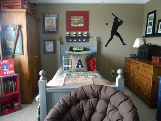 Wonderful Boys Room Design Ideas: Casual Inspired Boys Room With Sports Themed With Wall Hangings Sports And Personal Photo And Comfortable Bed And A Wooden Cabinet And Closet ~ stevenwardhair.com Bedroom Design Inspiration
