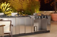 Awesome Outdoor Kitchen Designs That Will Make Your Patio Stylish And Inviting : Casual Outdoor Kitchen Designs Ideas With Metal Warming Drawers Can Be Set To Maintain A Wide Range Of Temperatures Complete With All Kitchen Appliances