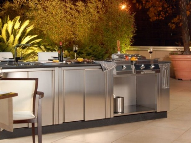Awesome Outdoor Kitchen Designs That Will Make Your Patio Stylish And Inviting: Casual Outdoor Kitchen Designs Ideas With Metal Warming Drawers Can Be Set To Maintain A Wide Range Of Temperatures Complete With All Kitchen Appliances ~ stevenwardhair.com Cabinets Inspiration