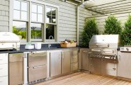 Awesome Outdoor Kitchen Designs That Will Make Your Patio Stylish And Inviting : Casual Outdoor Kitchen Designs Ideas With Stainless Steel Doors Pantry And Drawers For Bbq Grills And Outdoor Kitchens Cabinets With Laminated Floor Design