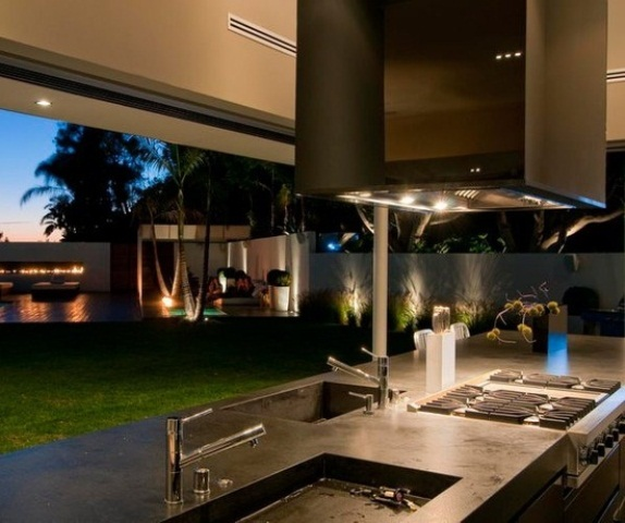 Excellent Casual Space Outdoor Kitchen For Family And Friends: Casual Outdoor Stylish And Inviting Kitchen Designs Ideas With Metal Vent Hoods Remove Excess Smoke Heat From Your Cooking Area Designed Specifically For Outdoor Grill