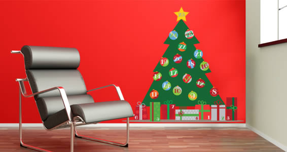 All Kind Of Christmas Holiday Wall Decals : Charming Advent Calendar Christmas Tree Wall Decal On Red Wall And Black Leather Modern Armchair