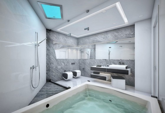 Futuristic Black And White Stylish Apartment Design: Charming Amazing Apartment Room Style White And Grey Inspiring Bathroom Design With Beautiful Large Bathtub Metal Hose Shower Nice Big Mirror